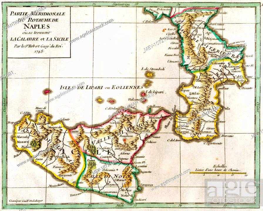18th century Map of Naples and Sicily, Italy, Stock Photo, Picture ...