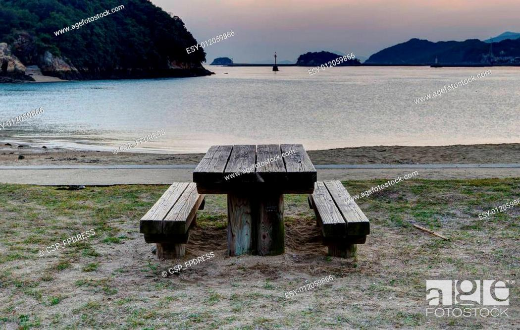 Stock Photo: Table and benches.