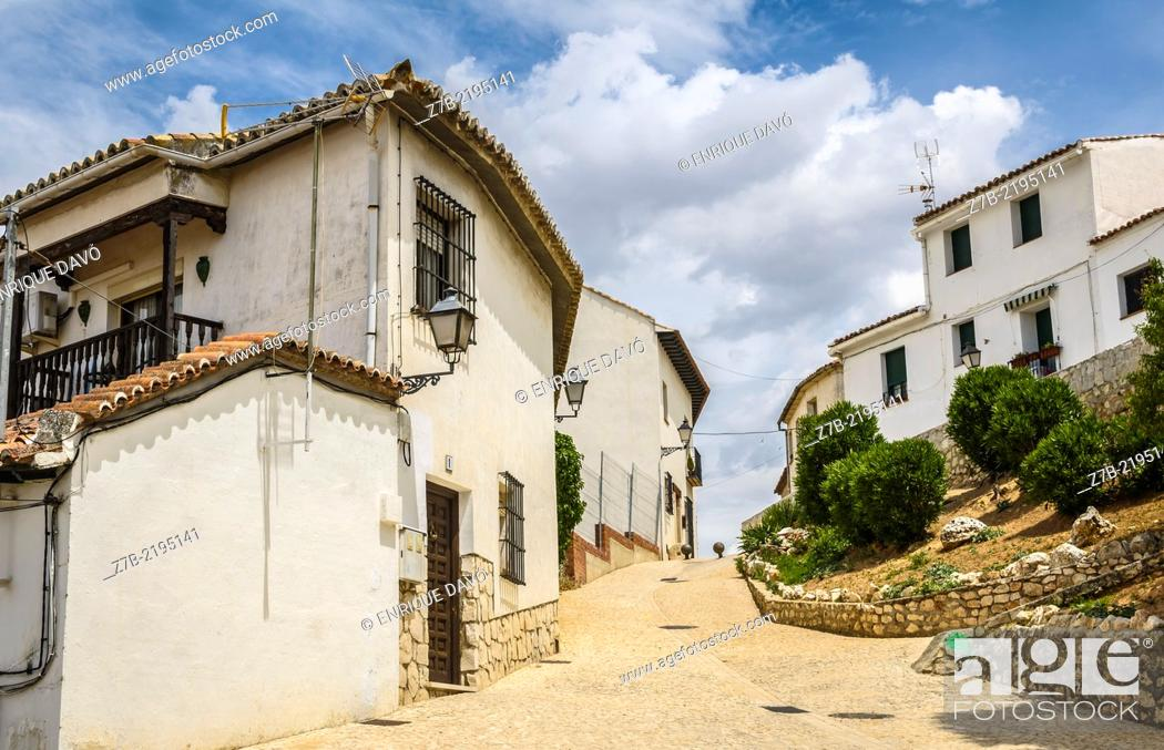 Stock Photo: Down view of a white houses in Chinchon village, Madrid province, Spain.