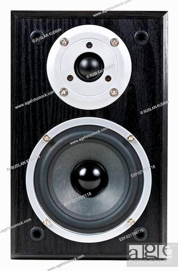 Stock Photo: black speaker.