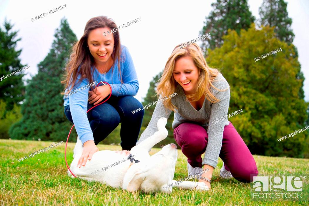 Stock Photo: Two young women playing with dog in park.