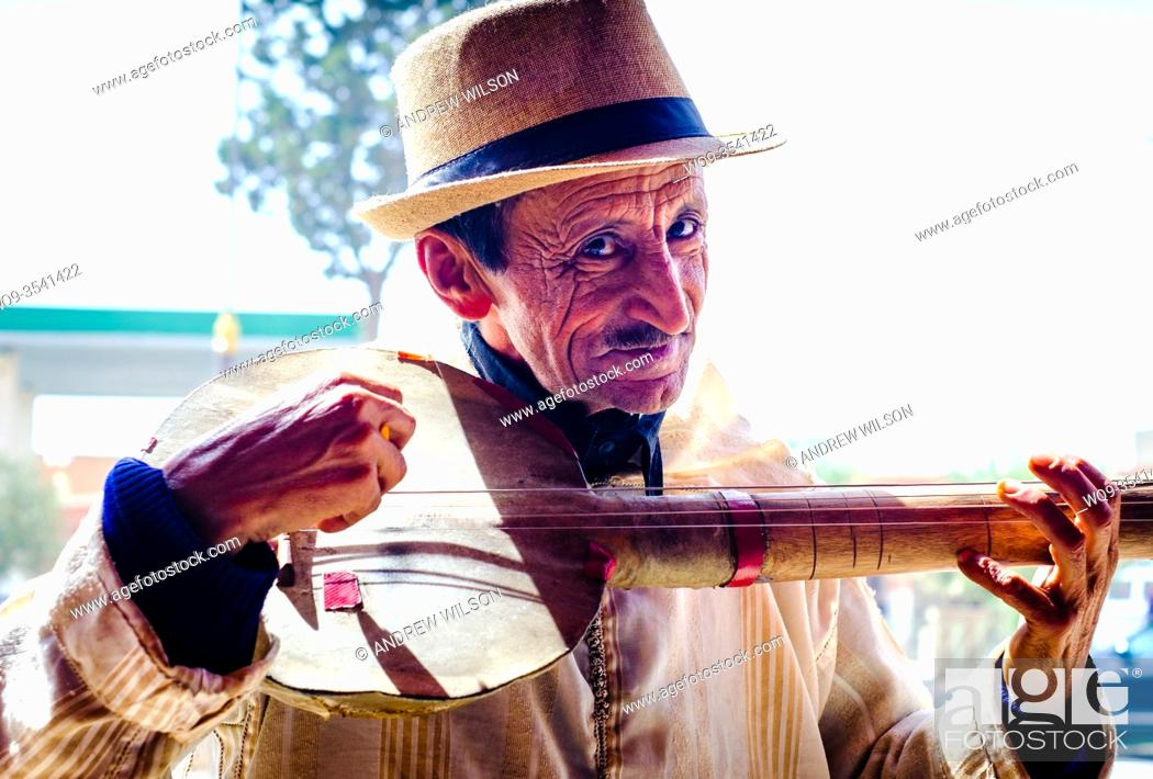 Stock Photo: Street musician in Tazenakht, southern Morocco, North Africa.