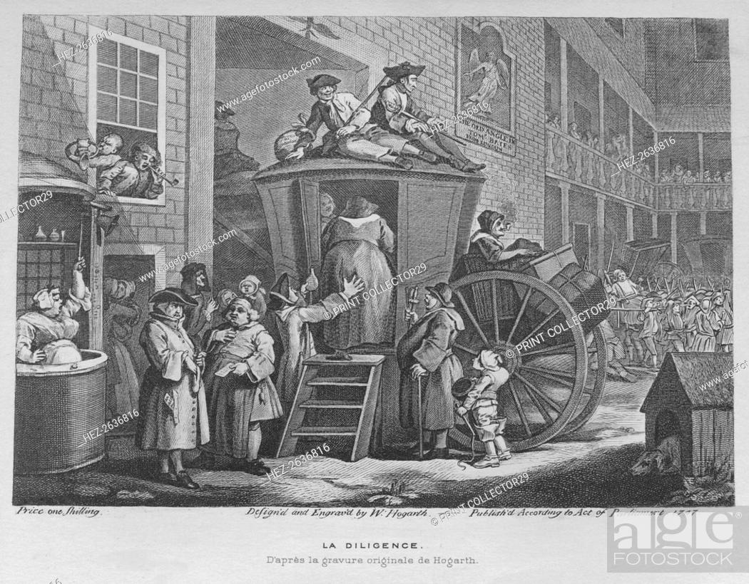 Stock Photo: 'The Stage Coach or Country Inn Yard', 1747. Artist: William Hogarth.