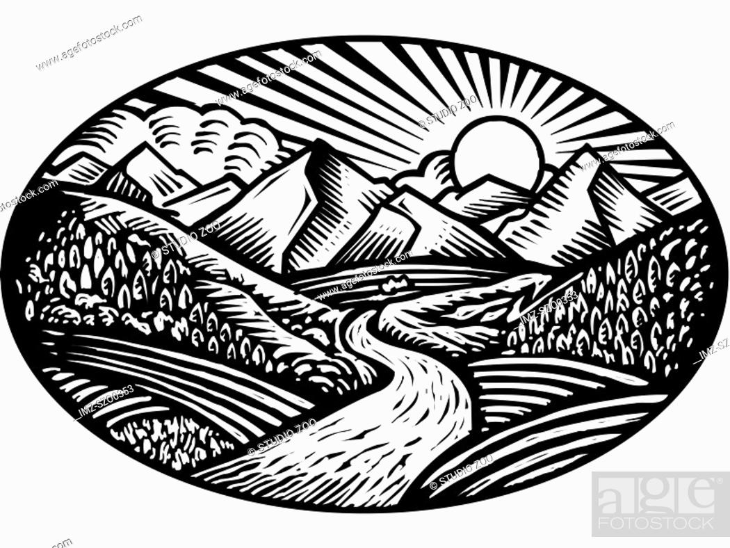 Stock Photo: Oval shaped nature scene of mountains, hills and stream, black and white.