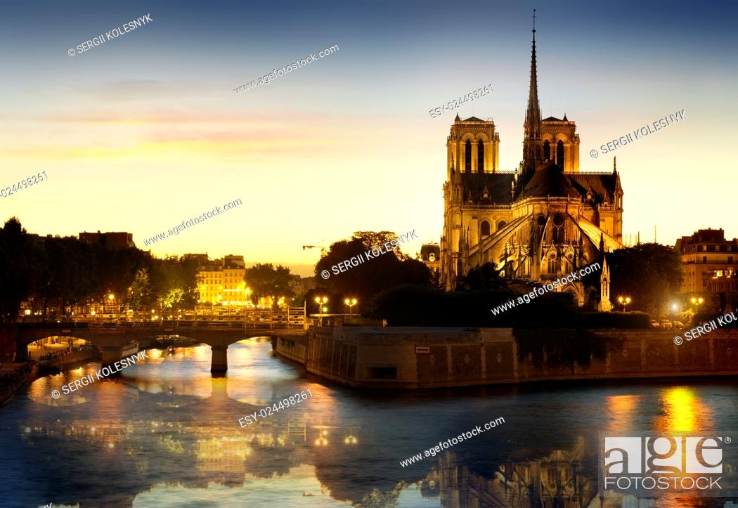 Stock Photo: Notre Dame de Paris Cathedral at night.