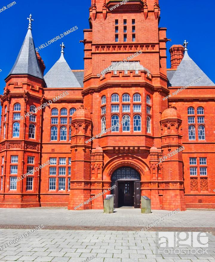 Stock Photo: Grade 1 listed Pierhead Building (Adeilad y Pierhead), Cardiff Bay, Wales, United Kingdom. Designed in a French Gothic Renaissance style by William Frame and.