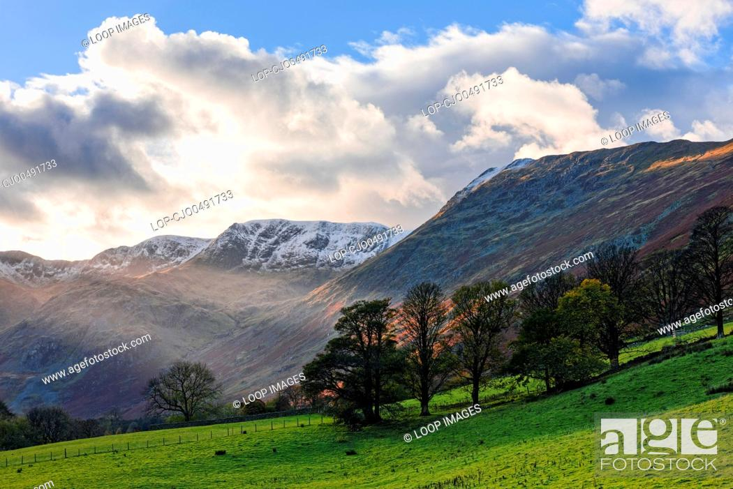 Stock Photo: The snow capped Helvellyn range from the Grisedale valley near Patterdale in the Lake District National Park.