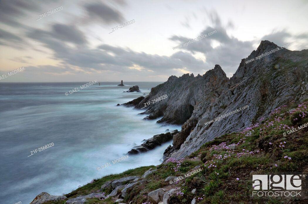 Stock Photo: La Pointe du Raz, westest rocky point of Brittany and France.