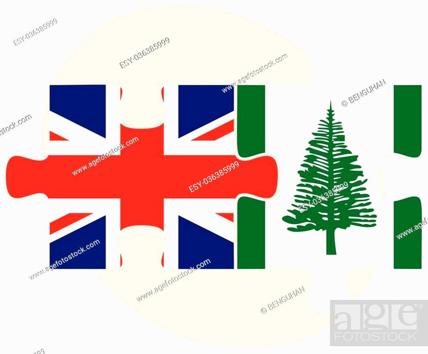 Stock Vector: United Kingdom and Norfolk Island Flags in puzzle isolated on white background.
