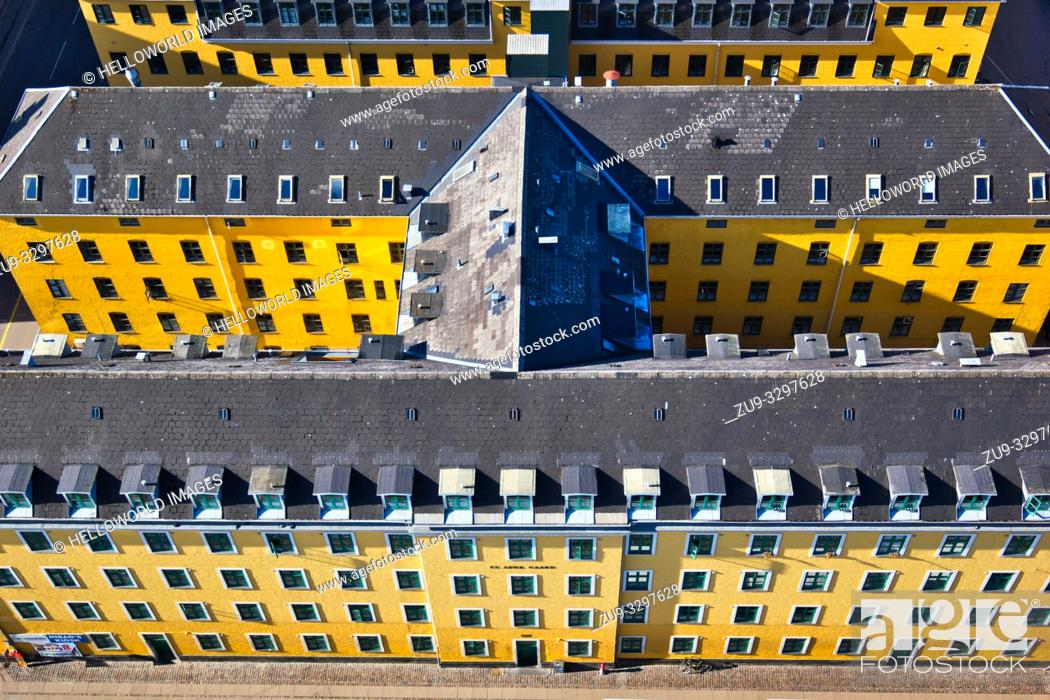 Photo de stock: High angle shot of yellow painted apartment blocks, Christianshavn, Copenhagen, Denmark, Scandinavia.