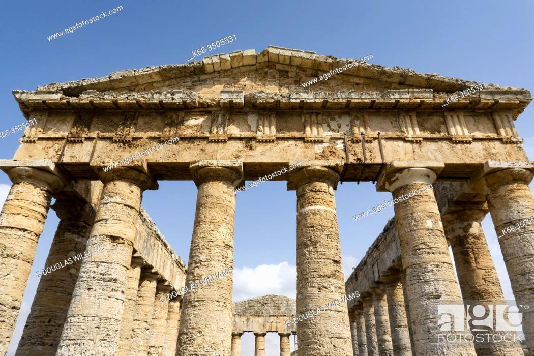 Stock Photo: the Greek temple at Segesta, Sicily, Italy.