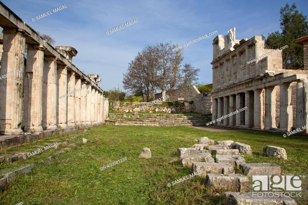 Stock Photo: The Sebasteion was initially built in circa 14-37 AD, during the reign of Emperor Tiberius, this complex was destroyed by earthquakes numerous times and.