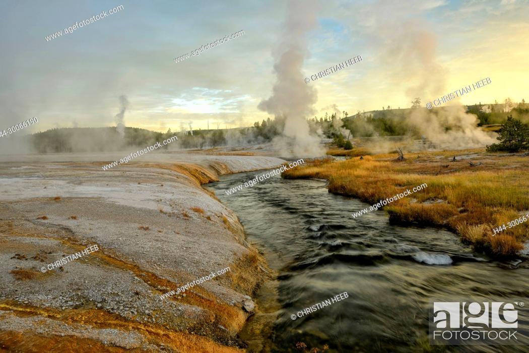 Stock Photo: North America, American, USA, Rocky Mountains, West, Yellowstone National Park, UNESCO, World Heritage, Black Sand Basin,.