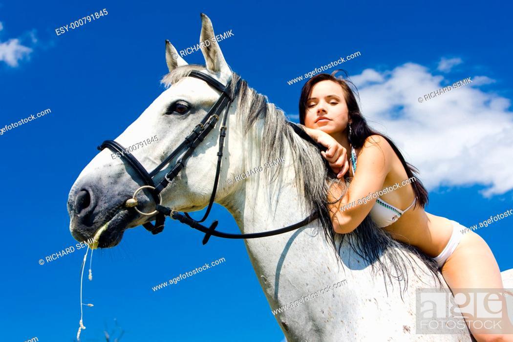 Stock Photo: equestrian on horseback.