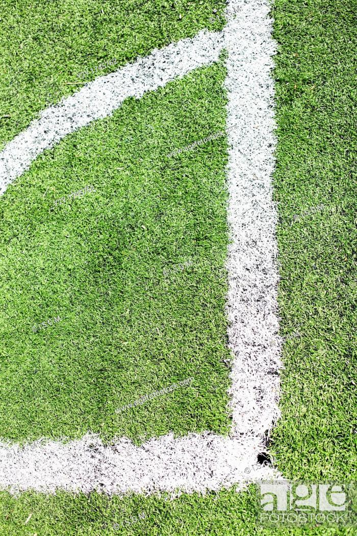 Stock Photo: Corner lines in a football field.