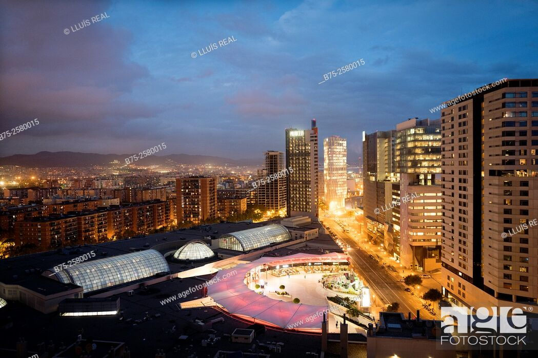 Stock Photo: Evening view of a residential buildings on the sea front, in Diagonal Mar, Barcelona, Catalonia, Spain, Europe.