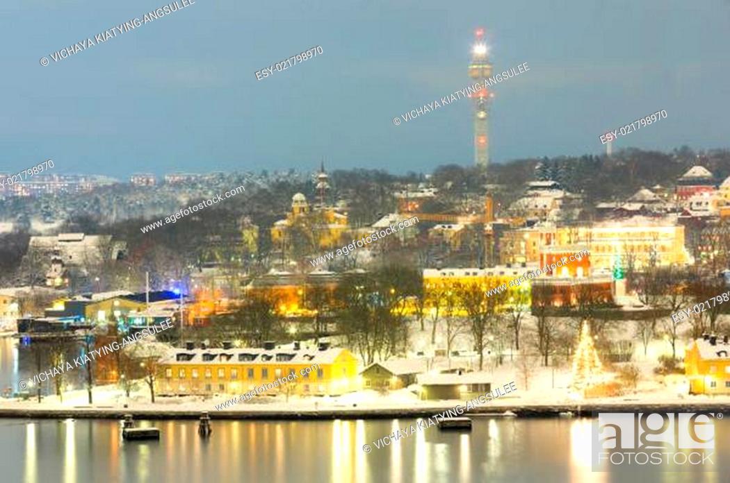 Stock Photo: Stockholm Cityscape night.