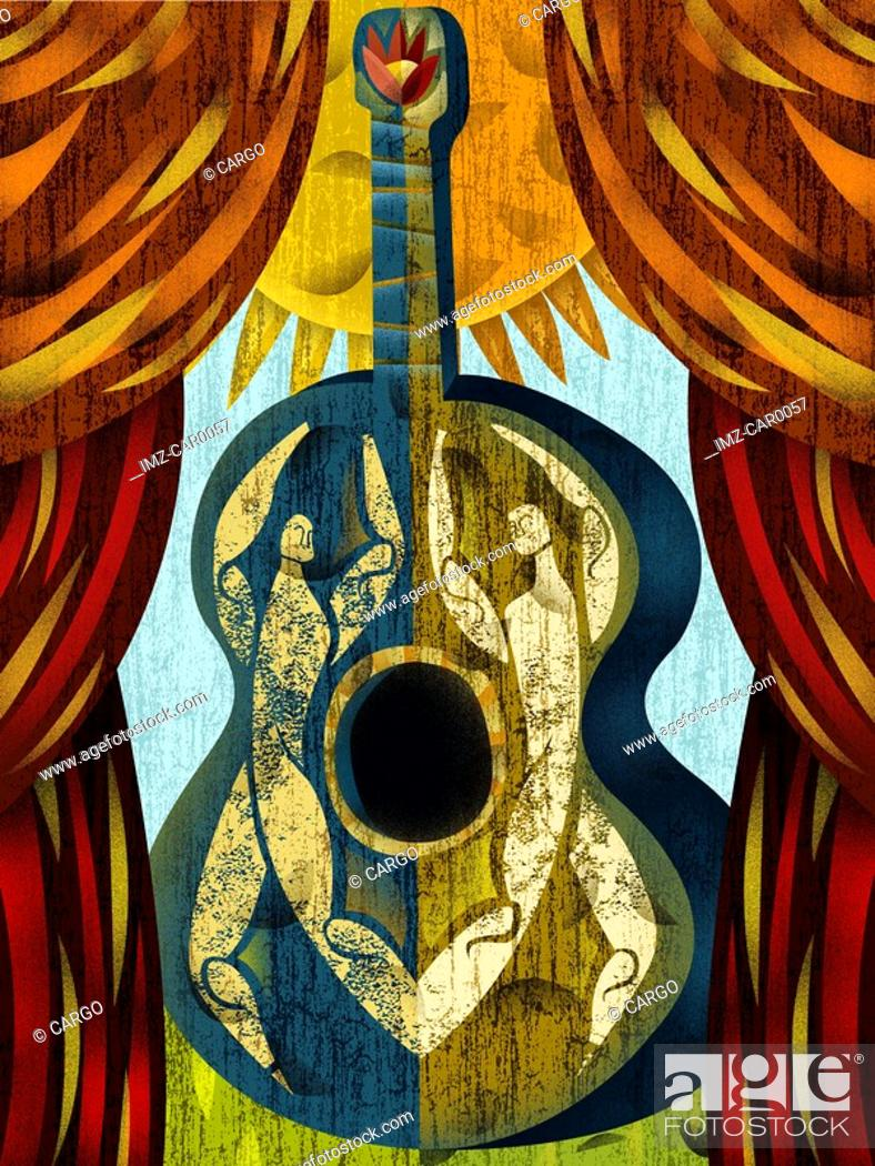 Stock Photo: A guitar with outline of two people in it.