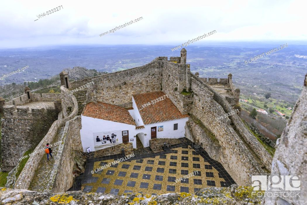 Stock Photo: The eastern edge of the fortifications of medieval castle of Marvao, Portalegre District, Alentejo Region, Portugal.