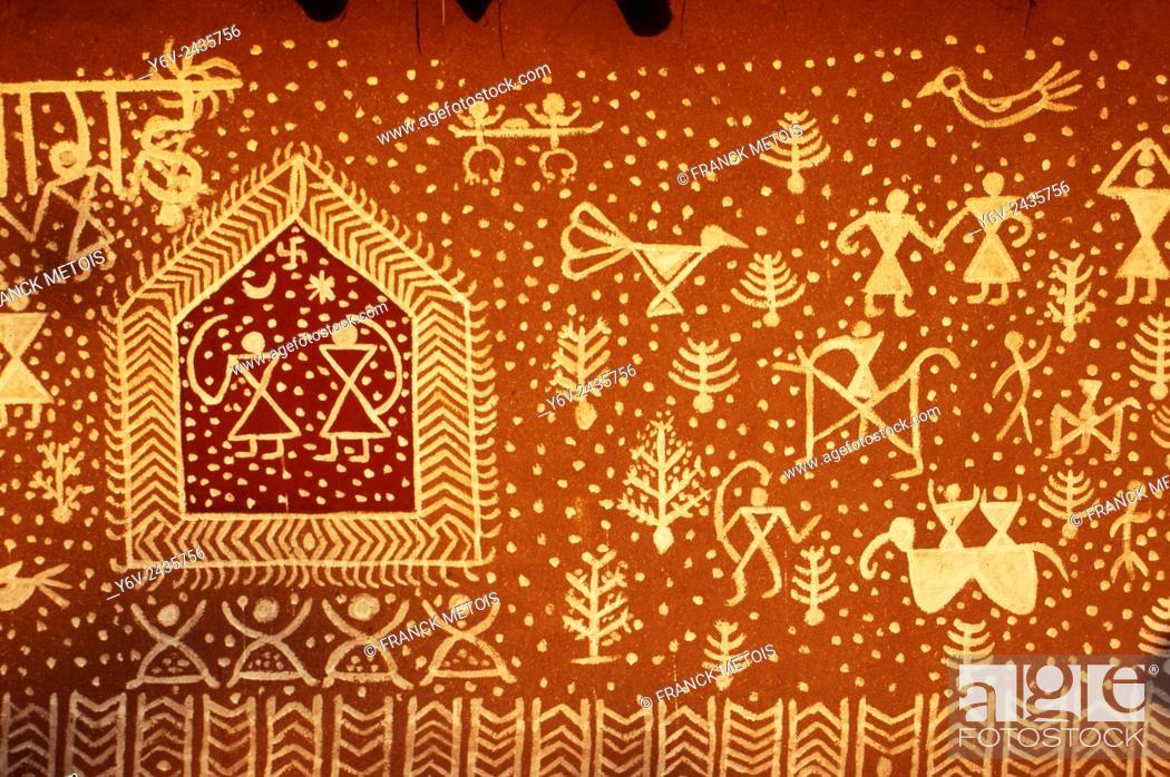 Stock Photo: Mural painting ( Rajasthan, India).