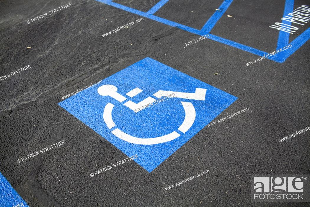 Stock Photo: Disabled parking space.