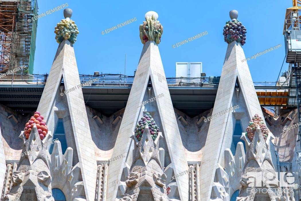 Stock Photo: Triangular Pillars and Skyline, Temple Expiatori de la Sagrada Família, Barcelona, Spain.