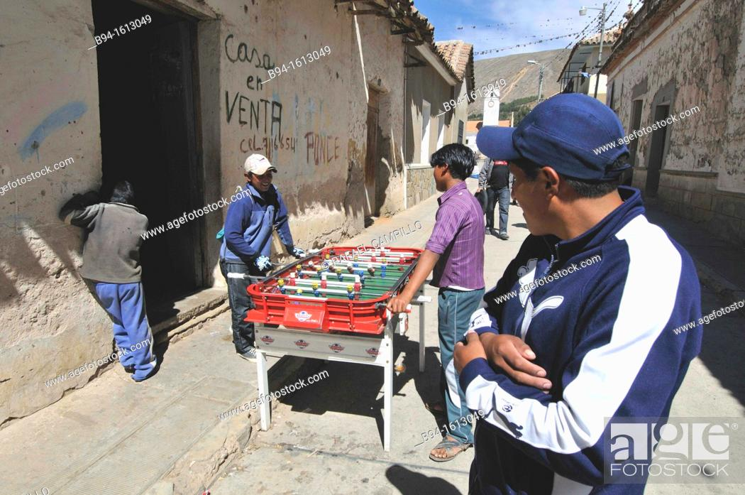 Stock Photo: Playing table football. Tarabuco is a Bolivian town in the department of Chuquisaca, capital of the Yamparáez Province and its first section.