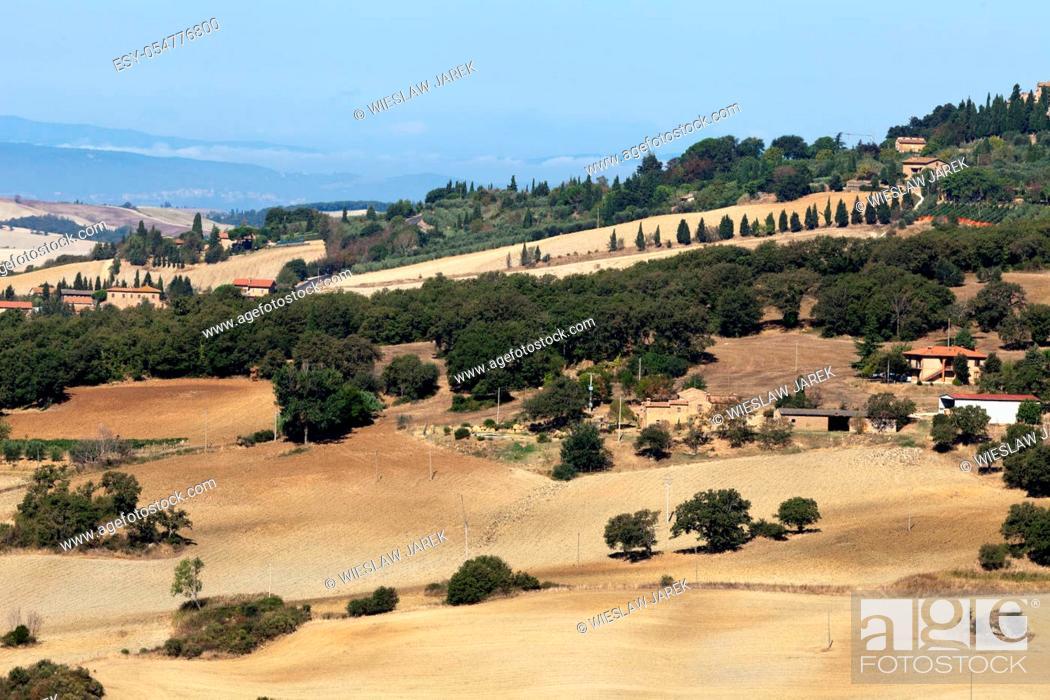 Stock Photo: The hills around Pienza and Monticchiello Tuscany, Italy.
