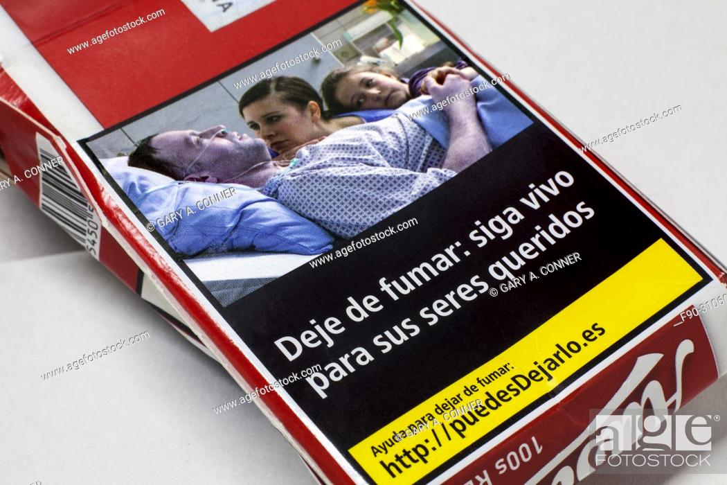Imagen: Found cigarette package graphic health warning, Spain.