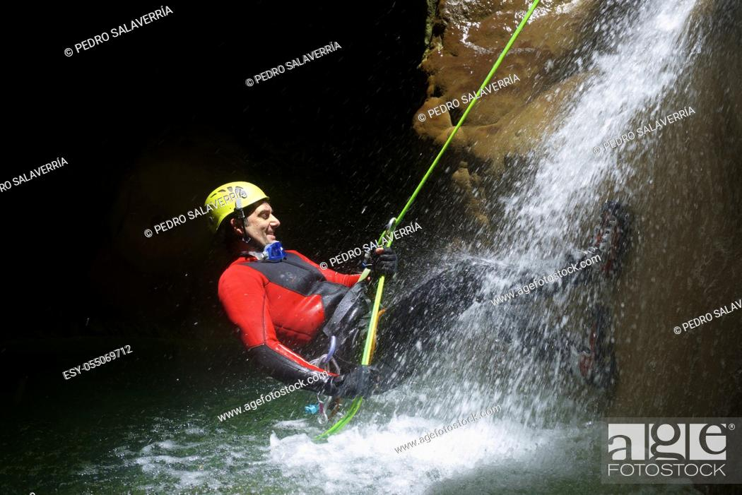 Photo de stock: Canyoning in Fago Canyon, Pyrenees, Huesca Province, Aragon in Spain.
