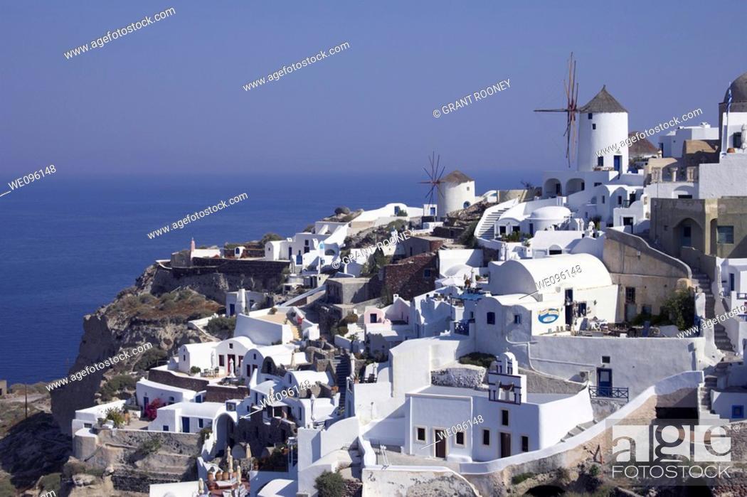 Stock Photo: View of Oia, Santorini, Greek Islands.