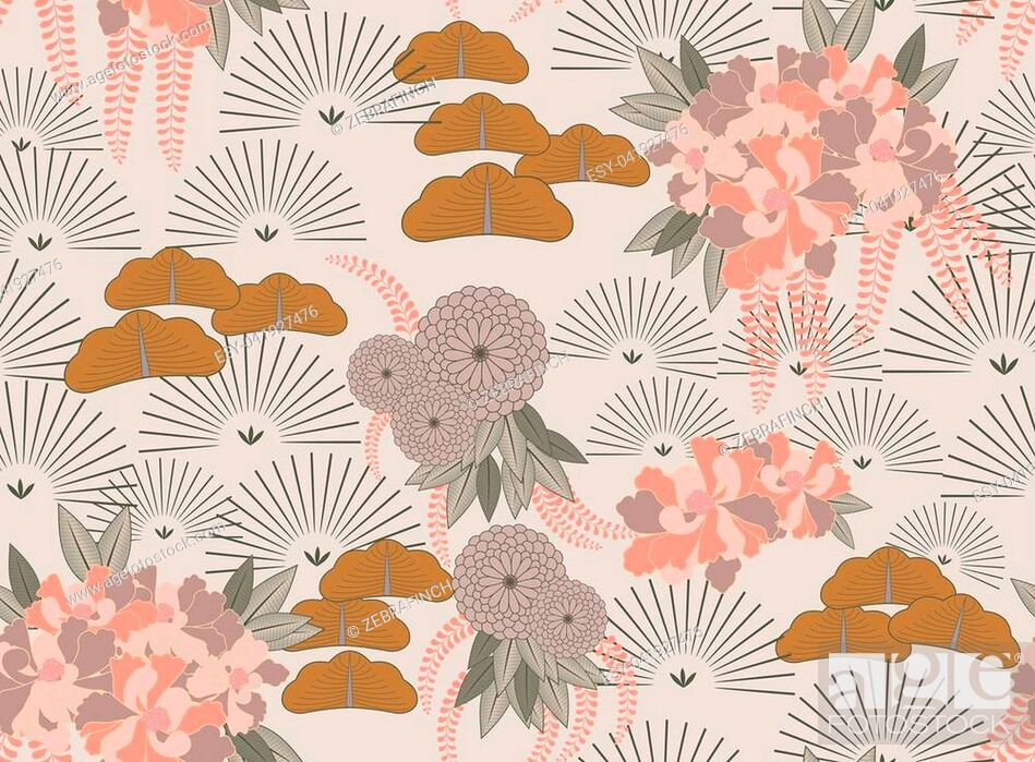Vector: Aster pink flower Japanese garden.Hand drawn floral seamless background.Botanical repainting design for fabric or textile.