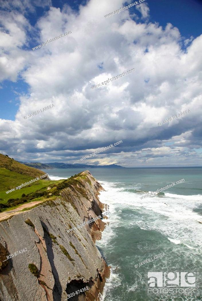 Stock Photo: 'Flysh' rock strata, Zumaia, Guipuzcoa, Basque Country, Spain.