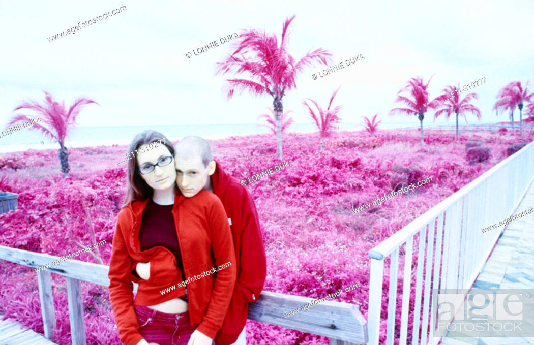 Stock Photo: Young couple at beach.