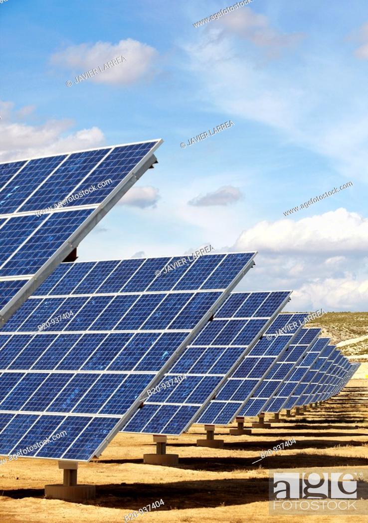 Stock Photo: Solar panels, photovoltaics, solar power plant, Bardenas, Navarre, Spain.