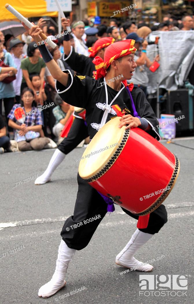 Stock Photo: Japan, Tokyo, Shinjuku Eisa Matsuri, festival, people, taiko drummer,.