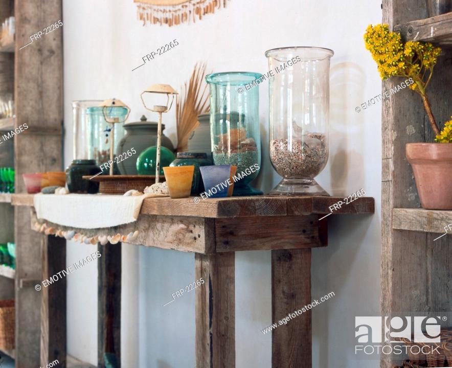 Stock Photo: Shelf with glasses.