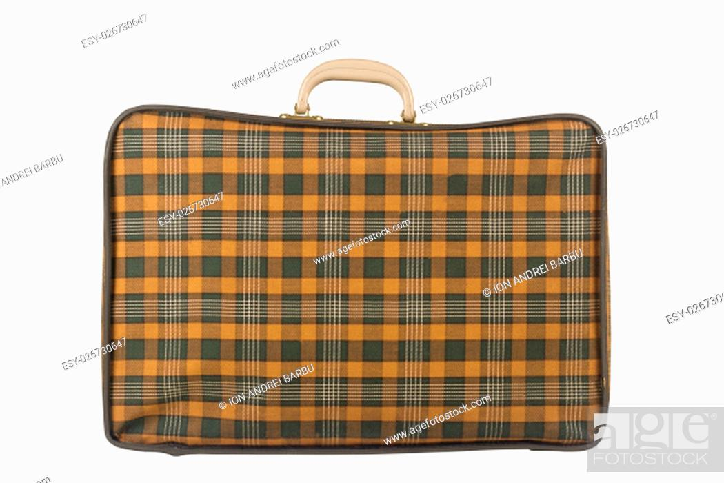 Stock Photo: Horizontal side view of an old yellow suitcase isolated on white background.