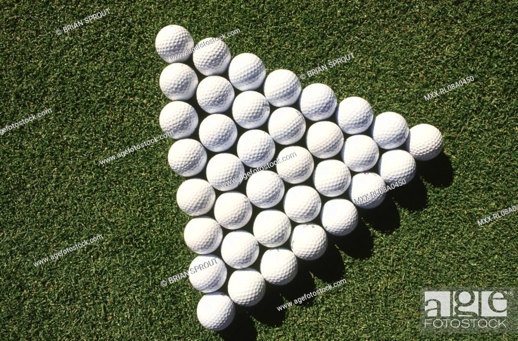 Stock Photo: Golf Balls in a pattern.