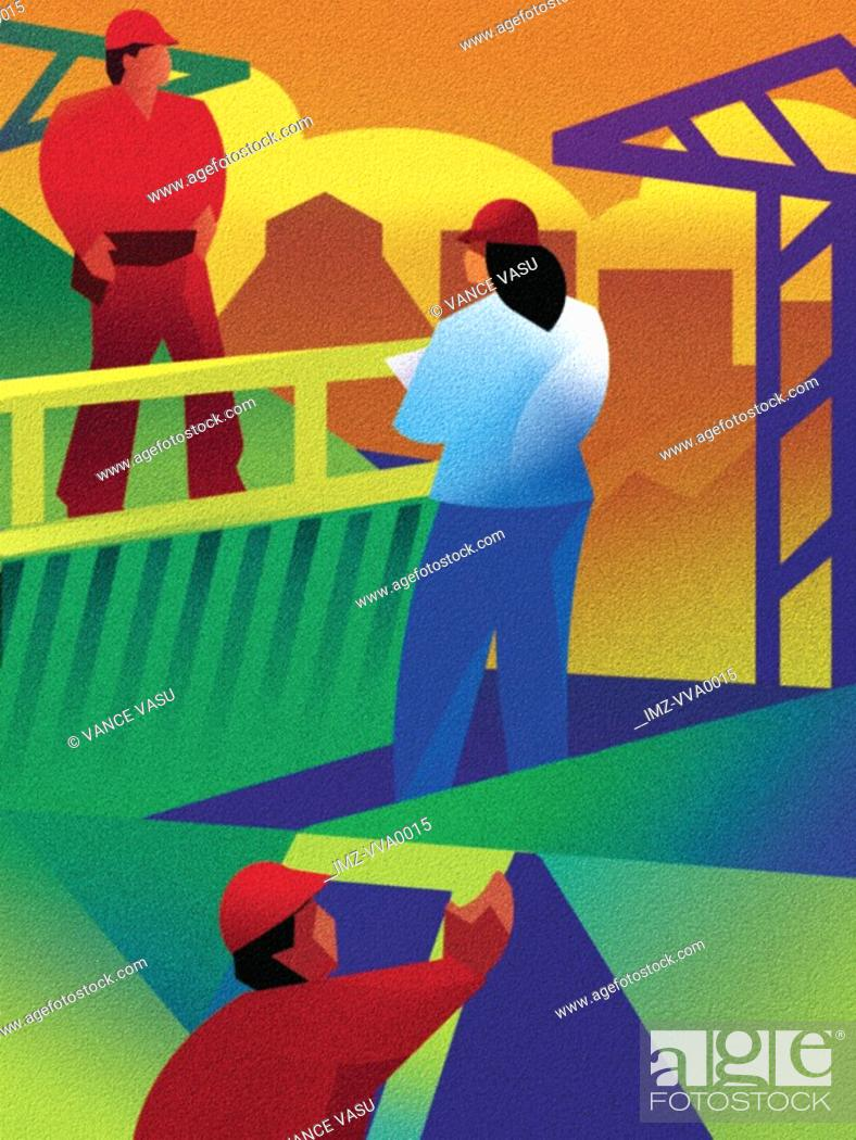 Stock Photo: An illustration of workers in a construction zone.