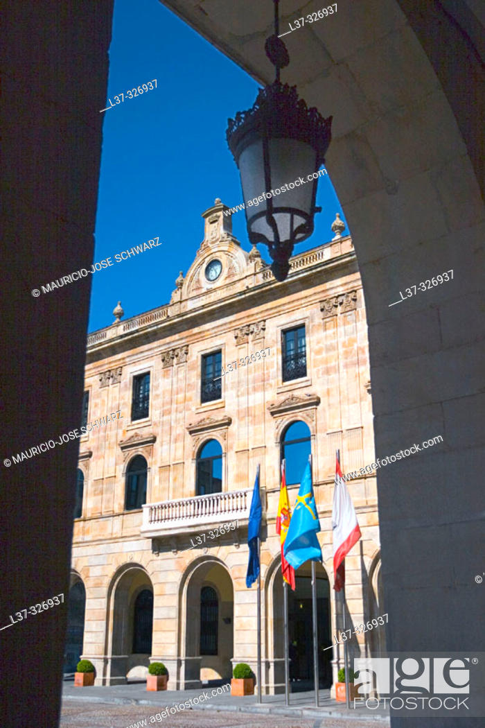 Stock Photo: City Hall. Gijón. Asturias, Spain.