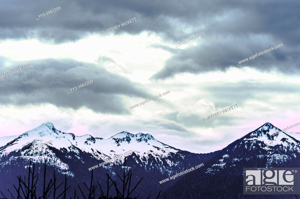 Stock Photo: The Pyramids mountain range as seen from Crescent Harbor in Sitka, Alaska, USA.