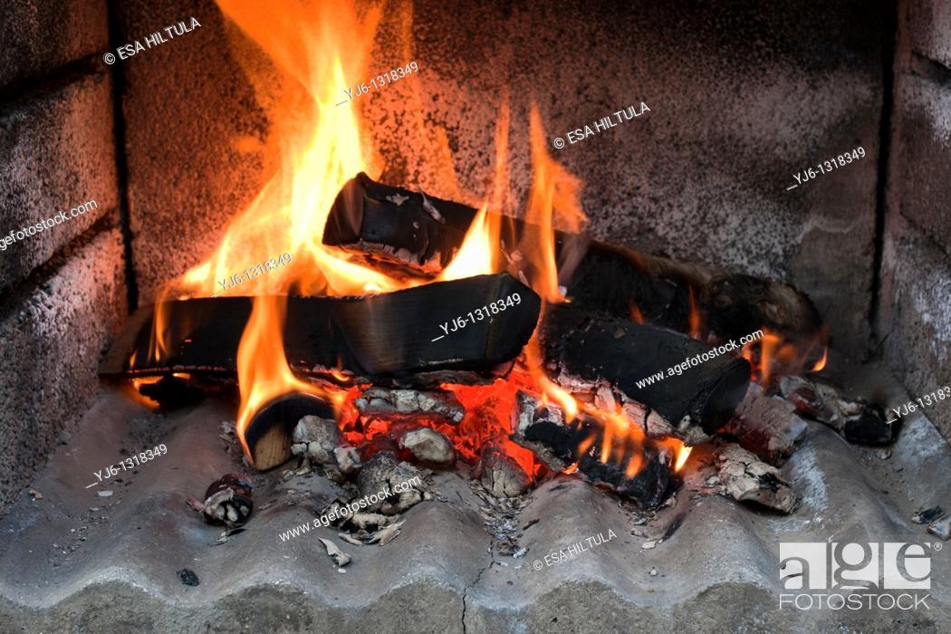 Stock Photo: birch logs in fire.