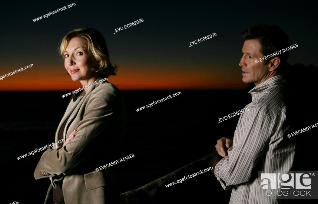 Stock Photo: Mature couple seaside.