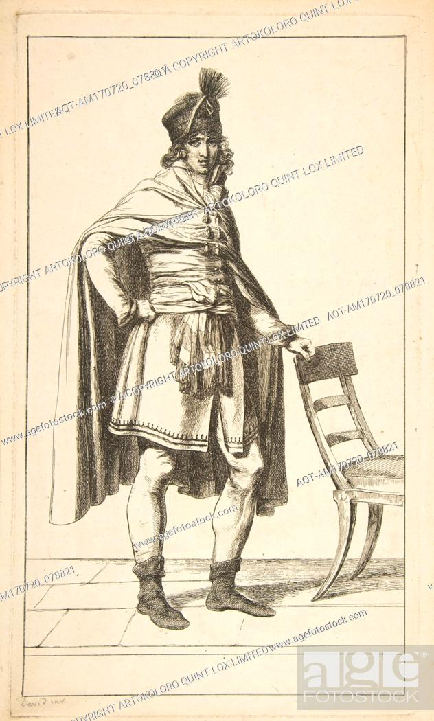 Stock Photo: Civil Garb of the French Citizen, 1794, Etching, image: 12 1/8 x 7 1/16 in. (30.8 x 18 cm), Prints, After Jacques Louis David (French.