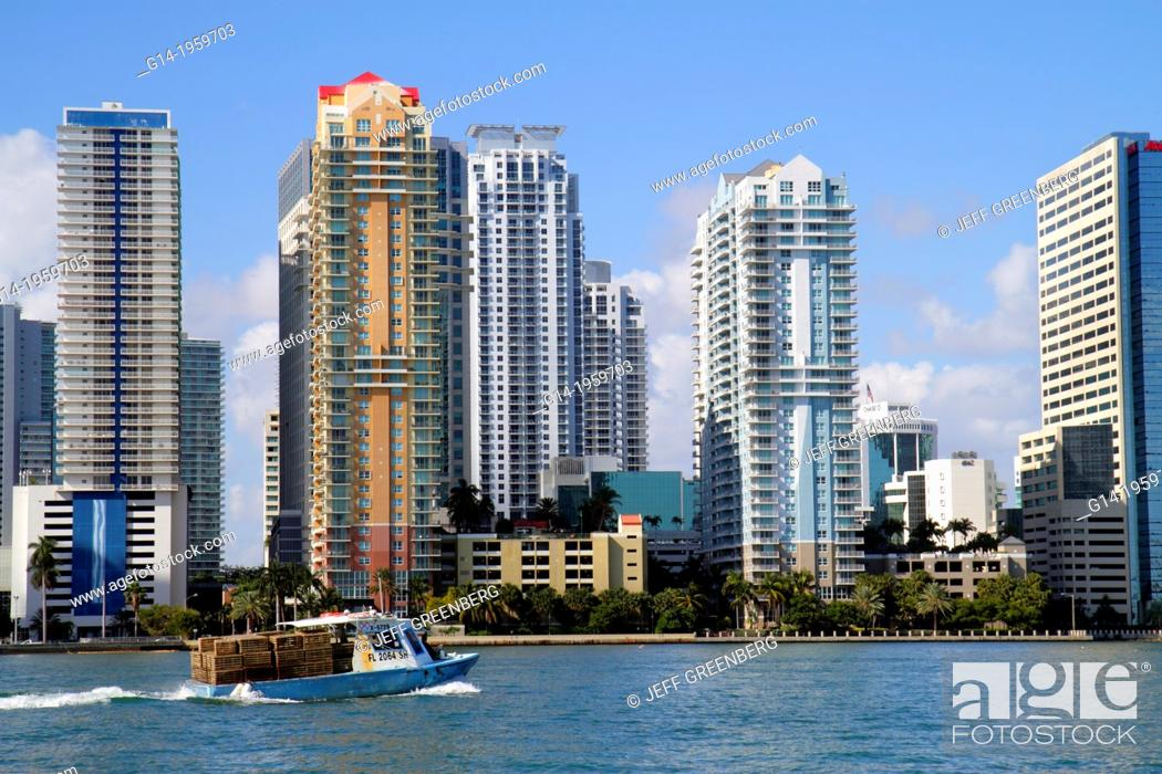 Stock Photo: Florida, Miami, Biscayne Bay, city skyline, Brickell Avenue, water, skyscrapers, high rise, condominium, residential, buildings, boat, commercial, crab.