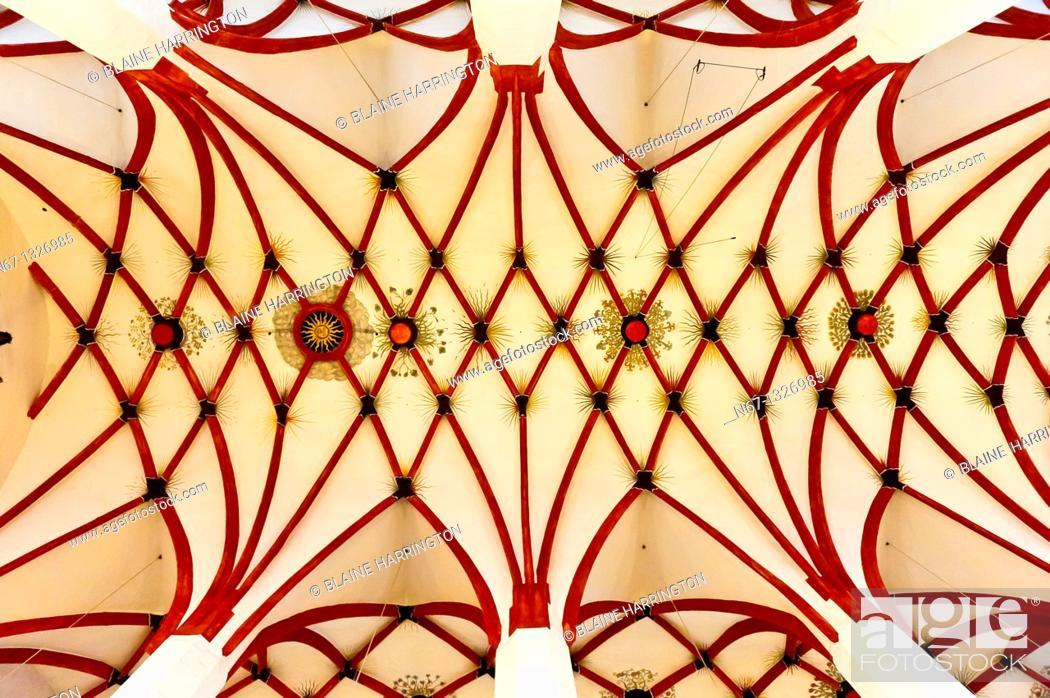 Stock Photo: Ornate ceiling, St Thomas Church Thomaskirche, Leipzig, Saxony, Germany.