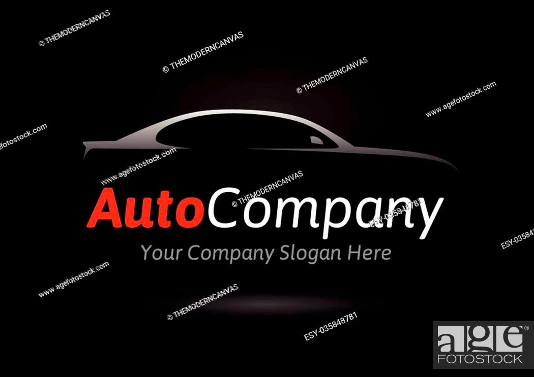 Modern Auto Company Vehicle Logo Design Concept With Sports Saloon Car Silhouette On Black Stock Vector Vector And Low Budget Royalty Free Image Pic Esy 035848781 Agefotostock