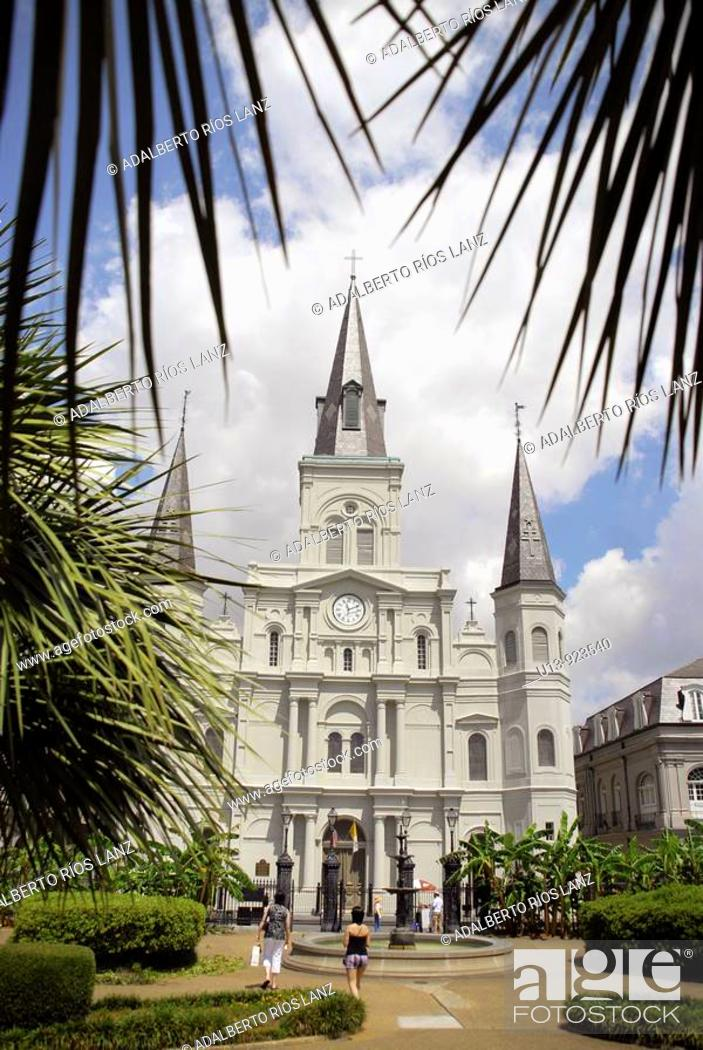Stock Photo: Saint Louis Cathedral at Jackson Square, French Quarter, New Orleans, Louisiana, USA.