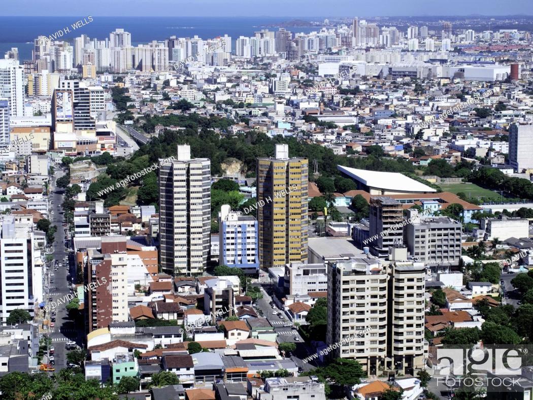 Stock Photo: Residential structures and city skyline at Vitoria, Espirito Santo, Brazil.